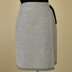 Kenneth Cole New York Tweed Wool Belted Wrap Skirt